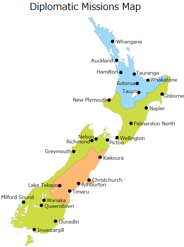 Japanese Diplomatic Misson Map in New Zealand